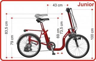 Variante hauteur Selle Adolescent R32 Tricycle Pliant